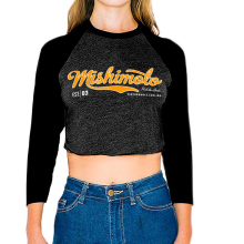 Mishimoto Women's Athletic Script Crop Top Raglan